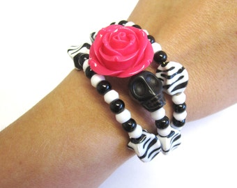 Day Of The Dead Bracelet Sugar Skull Jewelry Wrap Cuff White Black Hot Pink Rose