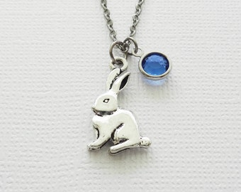 Rabbit Necklace, Easter Bunny Jewelry, Gift For A Child, BFF, Best Friend Gift, Birthday Silver Jewelry Swarovski Channel Crystal Birthstone