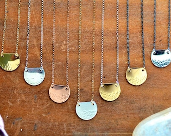 Barnacle Necklace - gold dappled necklace, silver dappled barnacle necklace, rose gold nautical necklace, half moon necklace, dimpled charm