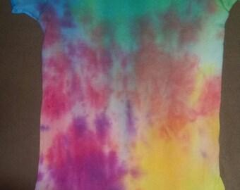 Rainbow tie dye one of a kind baby onsie 3t