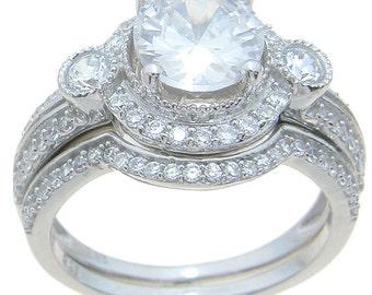 sterling silver ring  wedding set rings