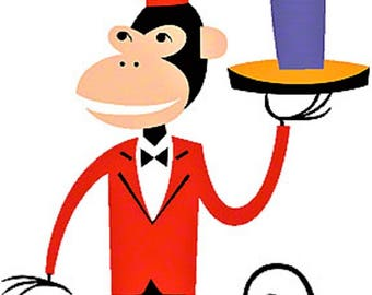 ART STICKER Fez Monkey by Artist Shag Decal #SH83