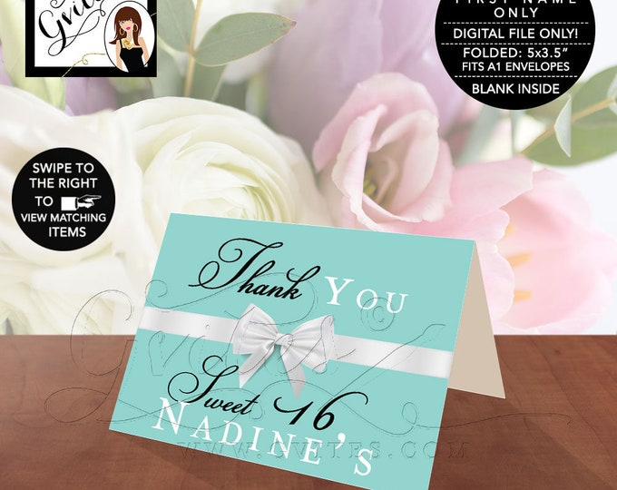 """Sweet Thank You Cards Folded, Breakfast at and co theme, blue and white bow, Blank Inside, Printable, Digital File. 5x3.5"""" 2 Per/Sheet"""