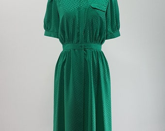 80s Vintage Green dress with subtle polka dot design/ Small- Medium