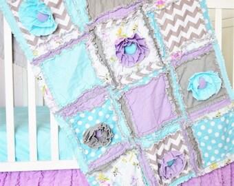 Baby Girl Crib Set - Turquoise / Gray / Light Purple -  Bumperless Crib Set /Quilt / Sheet / Skirt
