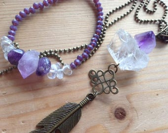 Set * sacred Intention *, amethyst and raw rock crystal, feathers bronze color, long necklace, stretch bracelet