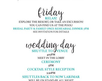 Calligraphy Style Wedding Weekend Itinerary *DIGITAL*