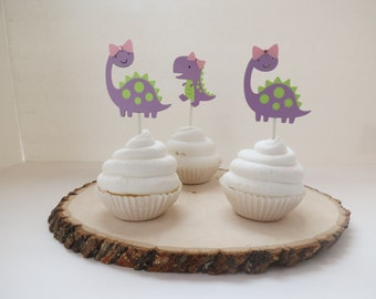 Girl T-Rex & Brontosaurus Dinosaur - Cupcake Toppers - Set of 12 - Lime Green and Purple