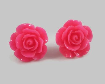 Hot Pink Rose Earrings Flower Posts Rose Jewelry Rose Post Earrings