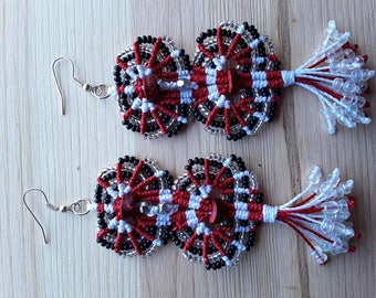Red, white earrings with seed beads