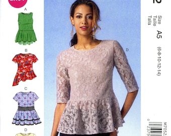 McCall's M7052 Easy Peplum Tops Blouses Pullover Size 6 8 10 12 14 Uncut Sewing Pattern 2014