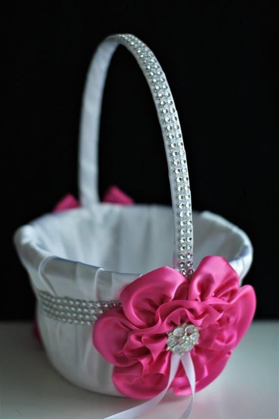 Fuchsia flower girl basket hot pink wedding basket bling mightylinksfo