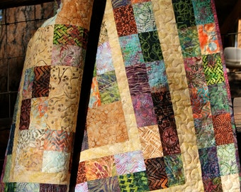 SALE Quilt Autumn Fall Batiks Lap Throw Gold Green Scrappy Patchwork Neutral Thanksgiving Jewel Tones Masculine Modern