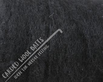 Black Carded Wool Batts For Needle Felting | 100% Sheep Wool | Needle Felting Wool | Available in Various Colours