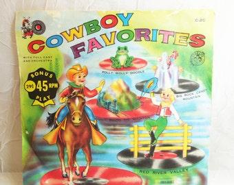 Cowboy Favorites - Cricket 45 RPM - Childrens Record - Vintage Vinyl