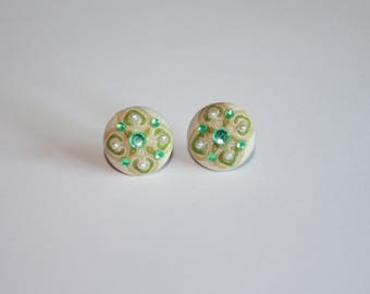 Fabric button covered stud earrings