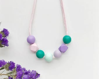 THE VIOLA petite modern girls necklace, kids necklace, petite handpainted wooden bead necklace on fabric string