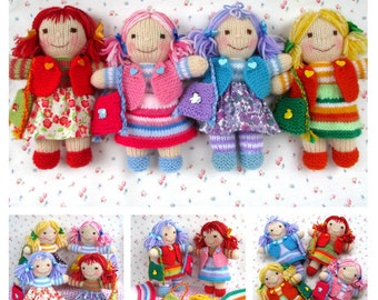 Rainbow Rascals  doll knitting pattern - INSTANT DOWNLOAD
