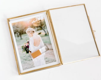 5x7 GOLD Glass Box | Photo Proof Print Wedding Box | Jewelry Box | Portrait Photographer Client Gift USB Flash Drive Delivery