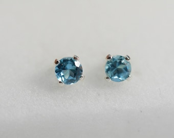 Blue Topaz earrings | sterling Silver blue topaz studs,3mm, Children's earrings, blue earrings, december birthstone
