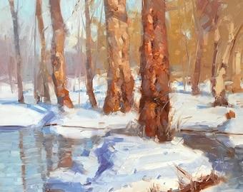 Sunny Winter, Landscape oil Painting, Original hand made artwork, Impressionism, Framed, One of a kind
