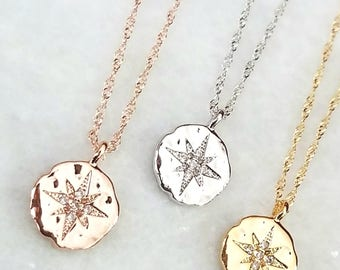 Compass Necklace, North Star Necklace - Graduation Gift - Dainty Gold Necklace - Celestial Jewelry - Constellation Jewelry - Gift for Her