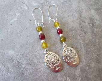 Tree of Life drop earrings with earthtone glass beads