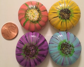 Hand painted glass flower magnets