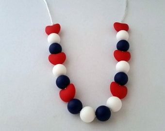 Red White and Blue Silicone beaded Teething Necklace, Nursing Necklace, Food Grade Silicone, Sensory Beads, Teething Beads, Fidget Jewelry