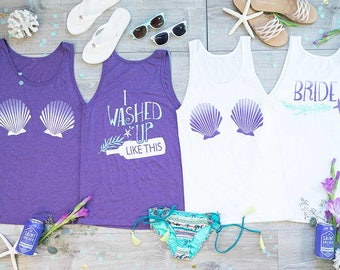 Beach Bachelorette Party Shirts - I Washed Up Like This | Bride Shirts | Mermaid Bachelorette Shirts | Beach and Pool Coverups