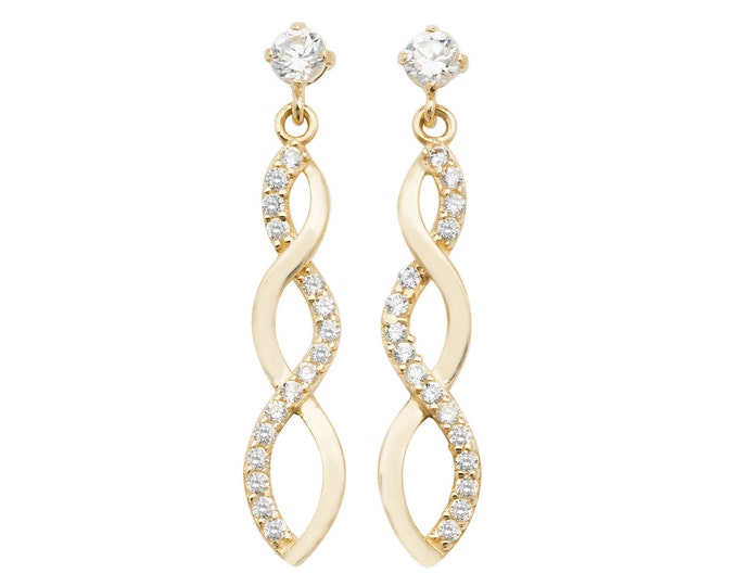 9ct Yellow Gold Cz Twisted Infinity 2cm Drop Earrings
