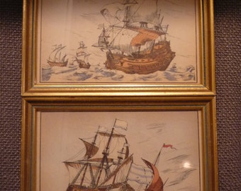 Pair Vintage Hand Tinted Tall Ship Framed Art      Beautiful COLORS!