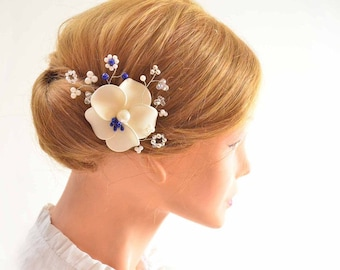Ivory hair flower Wedding hair flower Hair jewlery Bridal hair clip Fascinator headband Bridal hair clip