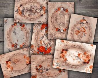 Vintage Rose Cards - Digital Collage Sheet Download