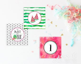 Watermelon | Watermelon Party | Cupcake Toppers | Watermelon Birthday | Watermelon Cupcake | Cupcake Topper | One in a Melon | Summer Party