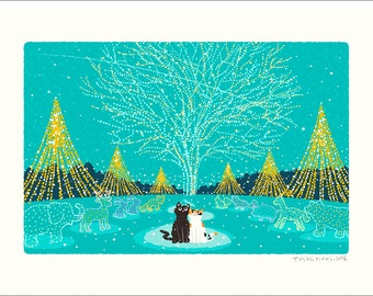 A3 size TABINEKO Art poster (Christmas illuminations ) Cat illustration Print