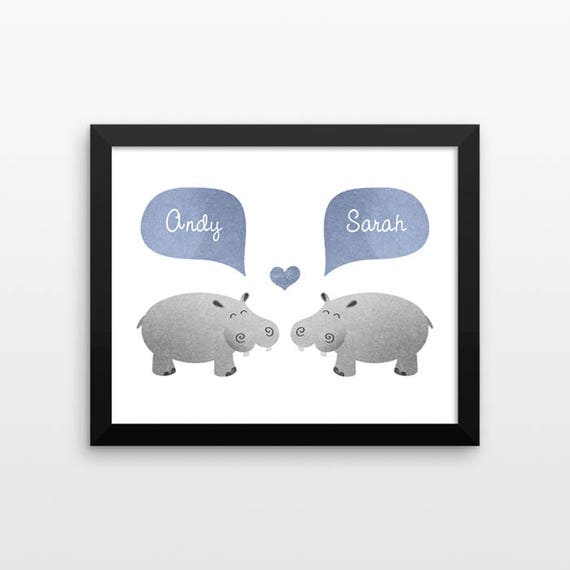 HIPPO Hippopotamus Couple Wall Art Print Decor Personalized Engagement Gift for Couple Gift Wedding Gift Idea Anniversary Gift for Men Women