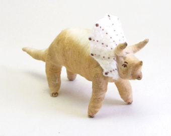 Vintage Inspired Spun Cotton Triceratops Dinosaur Ornament/Figure (MADE TO ORDER)