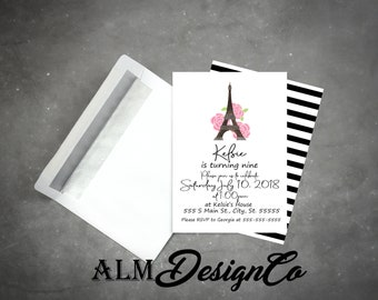 Paris Birthday Invitation - Eiffel Tower Invitation - Paris Birthday - Paris Invitation - French Birthday - Modern Paris Birthday Invitation