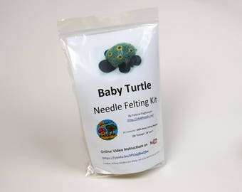 Handmade Baby Turtle Needle Felting Kit (Beginner level)