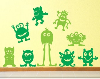 Large Kids Room Decor Monster Wall Art, Nine Big Little Green Men Vinyl Wall Decals, Goofy Alien Wall Art Monsters Kids Playroom (01710d1v)