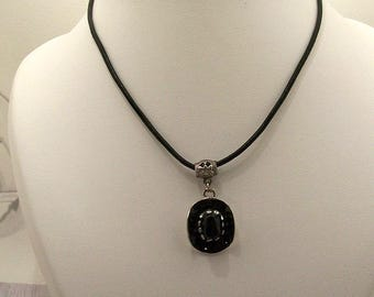 Necklace leather Choker, country, black cowboy hat