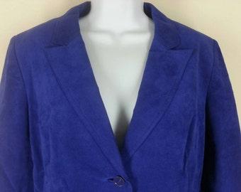 SALE Was 49.95 Vintage 1970s blue ultra suede skirt suit size 14 bust 40
