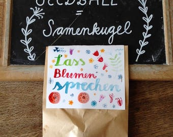 Lass Blumen sprechen: Samenkugel in schön gestalteter Papiertüte, enthält ca. 20 bis 30 Blumensamen in Erde und Ton, als Geschenk