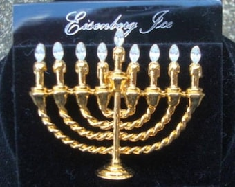 ON SALE Eisenberg Ice Rhinestone Menorah Hanukkah Brooch Pin Signed on Original Card Judaica