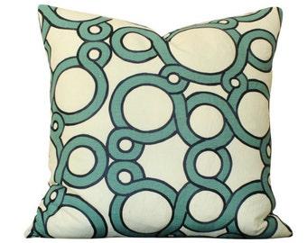 Schumacher Conundrum Pillow Cover in Peacock