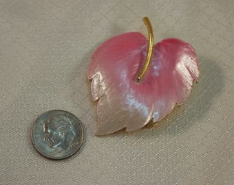 Lind-Gal c1960's Pink and White Enameld Antherium Fashion Brooch, Pink Leaf Brooch