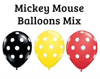 "Mickey Mouse polka dot Print 11"" Balloons birthday party decorations red black yellow"