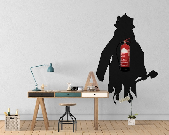 Fireman Fire Extinguisher Wall Decal - Wall decals for Office Wall Decoration, Extinguisher disguise wall vinyl decal, Wall stickers