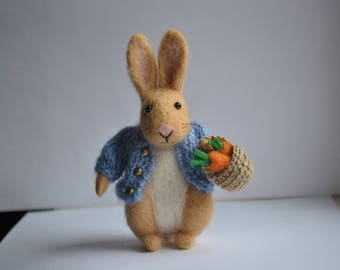 Peter Rabbit with basket Easter gift felted miniature animals Beatrix Potter inspired stuffed needle felt animal felted wool tiny bunny